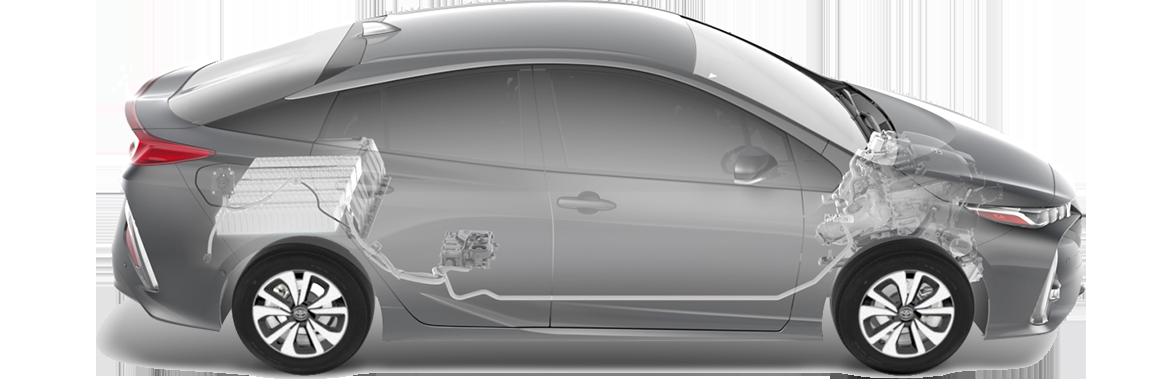 Схема гибридной установки в Toyota Prius Prime 2017