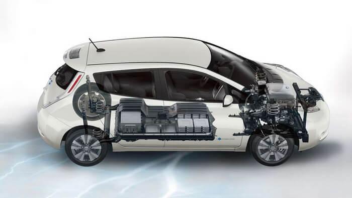 Расположение батарей Nissan Leaf