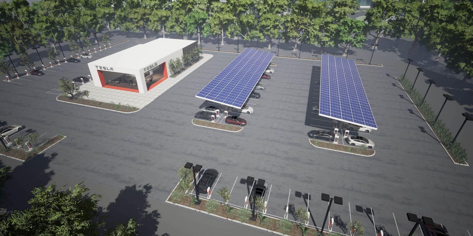 Вид зарядной станции с солнечными панелями Tesla Supercharge