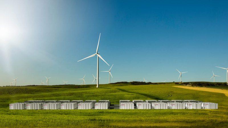 Ветряные электростанции Neoen Hornsdale Wind Farm в Джеймстауне в Южной Австралии