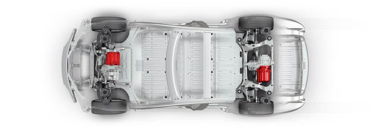 Схема расположения электродвигателей Tesla Model S