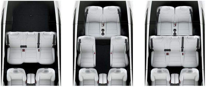 Варианты конфигураций второго и третьего ряда сидений в Tesla Model X