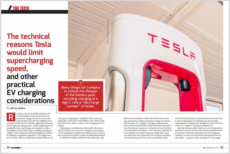 Публикация статьи в газете о зарядных станциях Tesla