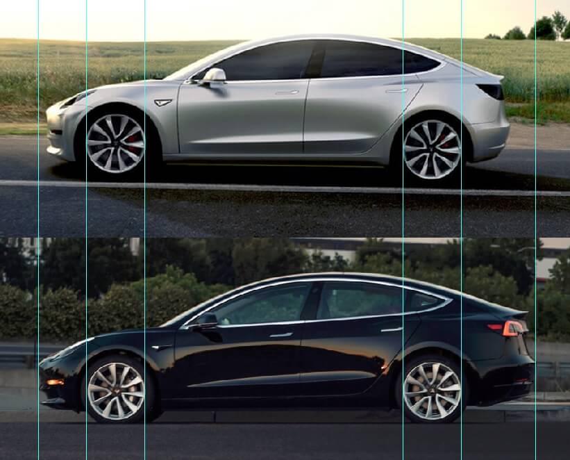 Примерное сравнение длинны прототипа pre-alpha и серийной модели Tesla Model 3