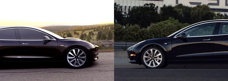 Сравнение переднего бампера прототипа и серийной модели Tesla Model 3
