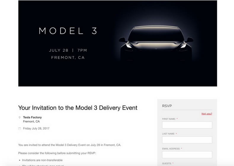 Форма получения приглашения на участие в официальной церемонии вручения ключей от Tesla Model 3