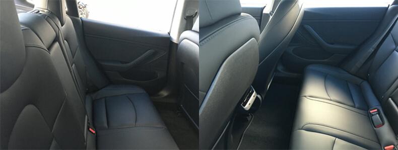 Место в заднем ряду сидений в Tesla Moldel 3
