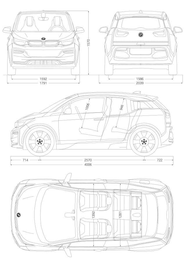 Габаритные размеры BMW i3s