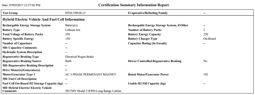 Технические характеристики батареи Tesla Model 3