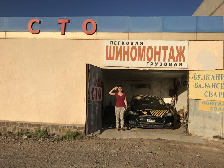 Зарядка Tesla на пути из Алматы в Астану