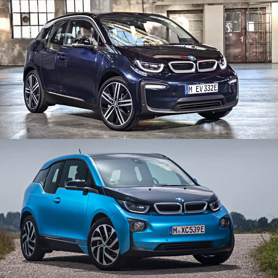 Фронтальная часть BMW i3 2018 и i3 2014