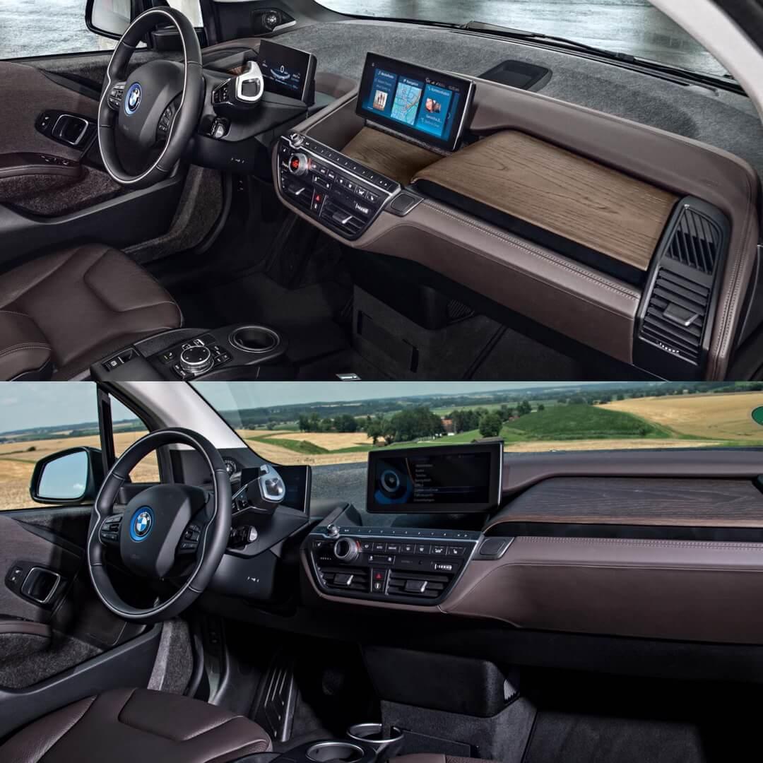 Интерьер приборной панели BMW i3 2018 и i3 2014