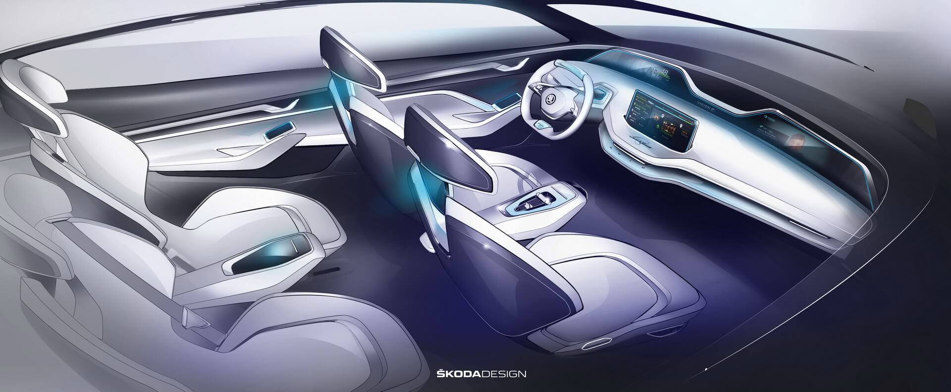 Салон электромобиля Skoda Vision E