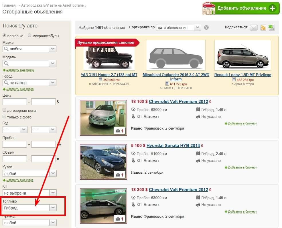 Фильтр для выбора автомобилей с гибридным двигателем на Autoportal.ua