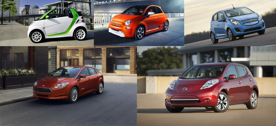 Smart Fortwo Electric Drive — Fiat 500e — Ford Focus Electric — Chevy Spark EV — Nissan Leaf