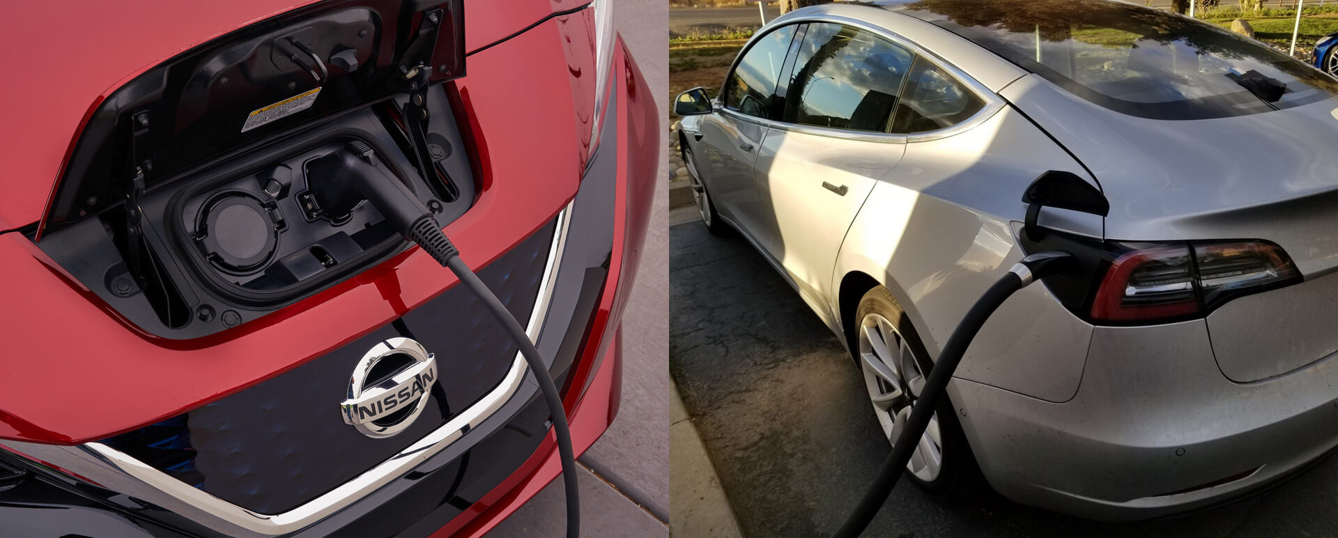 Порты подключения зарядки Nissan Leaf 2018 и Tesla Model 3