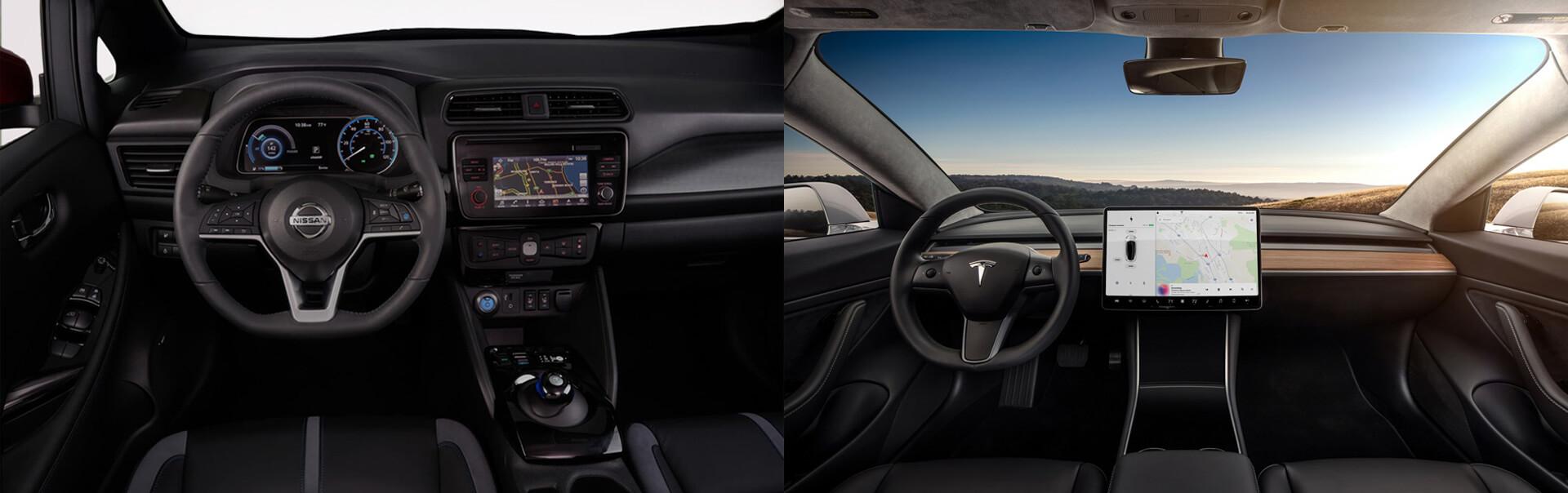 Приборные панели электромобилей Nissan Leaf (2018) и Tesla Model 3