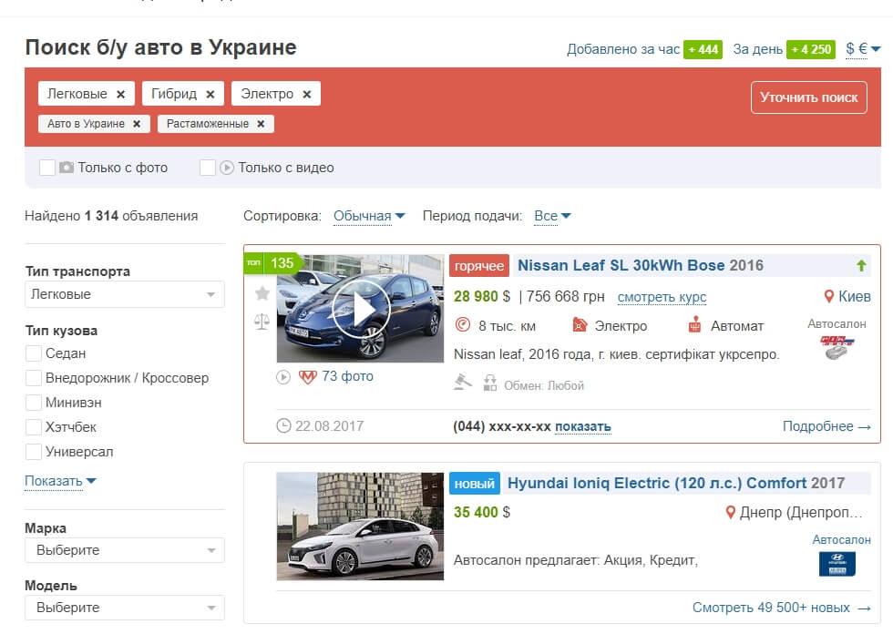 1591e3c4e376 Доски объявлений в Украине, где купить электромобиль  AUTO.RIA, AvtoBazar,  RST, Autoportal, Infocar, OLX, Avtosale — HEvCars