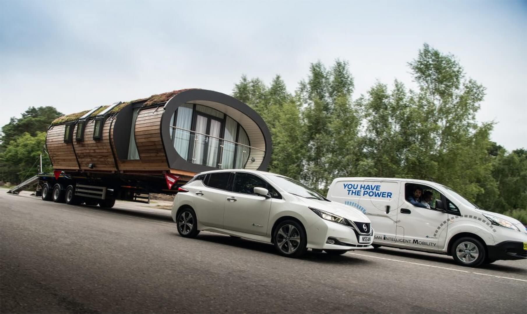 Электрический фургон e-NV200и Nissan Leaf 2018 с умным домом