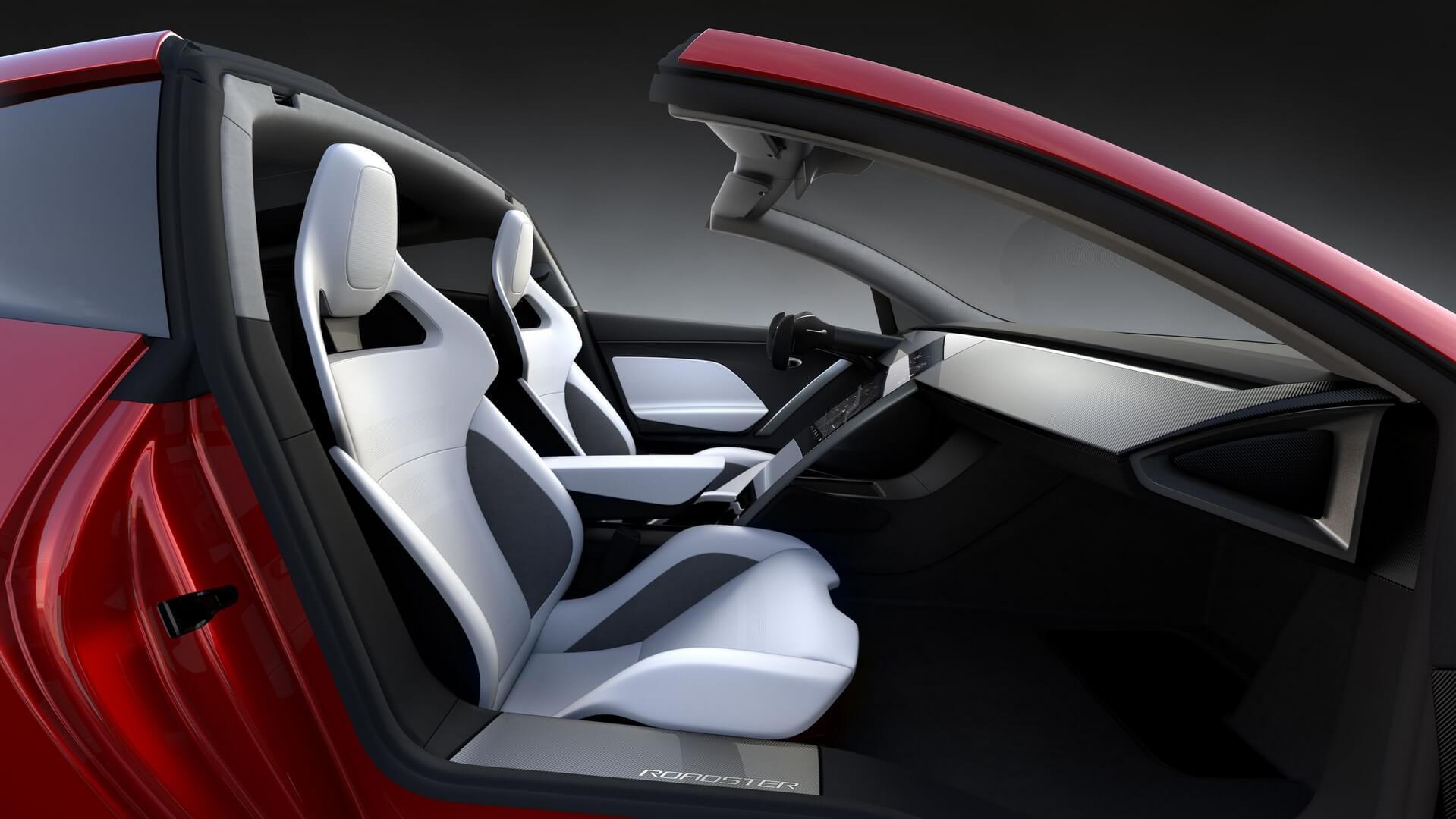 Салон спорткара Tesla Roadster нового поколения со съемной панорамной крышей