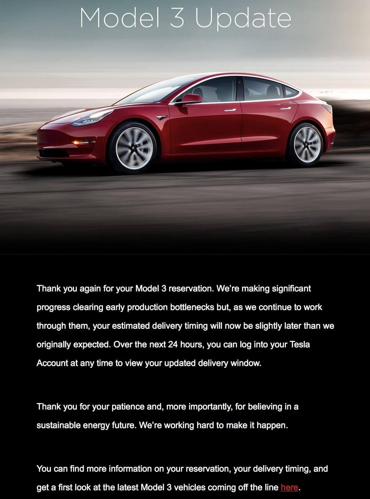 Письмо-обращение владельцам Tesla Model 3, которые сделали предварительный резерв