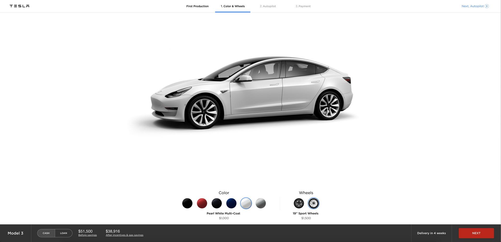 Резервирование Tesla Model 3 на сайте компании