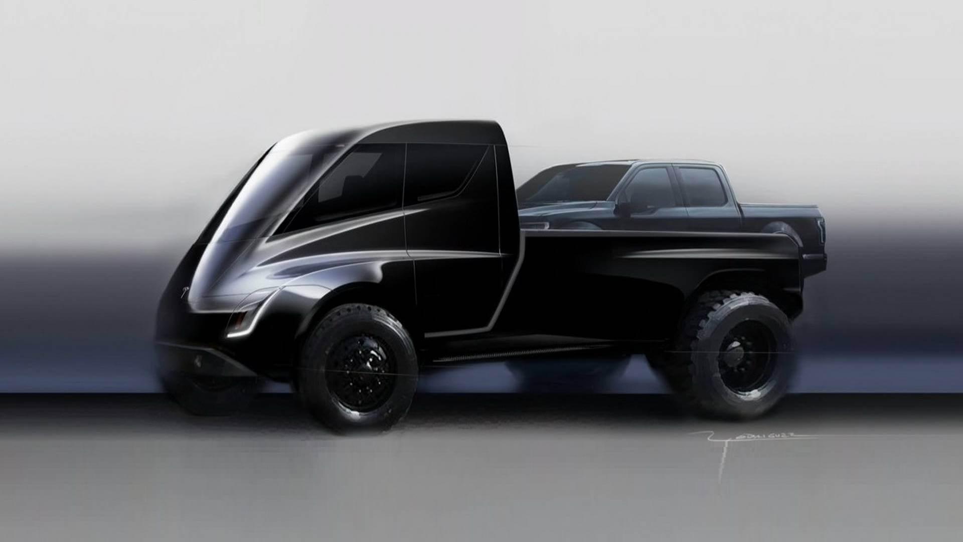 Прототип электрогрузовика Tesla Pickup