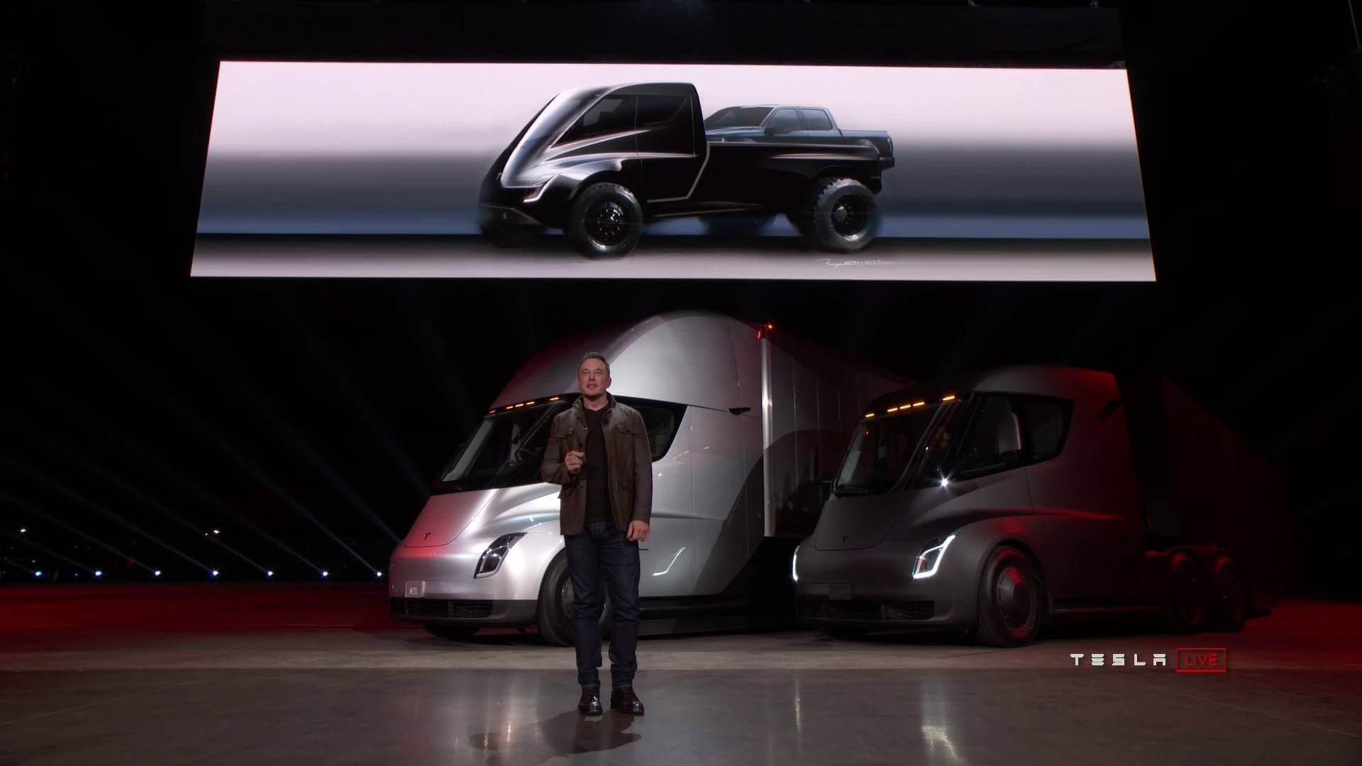 Показанный Илоном Маском Tesla Pickup на официальной презентации грузовика Tesla Semi