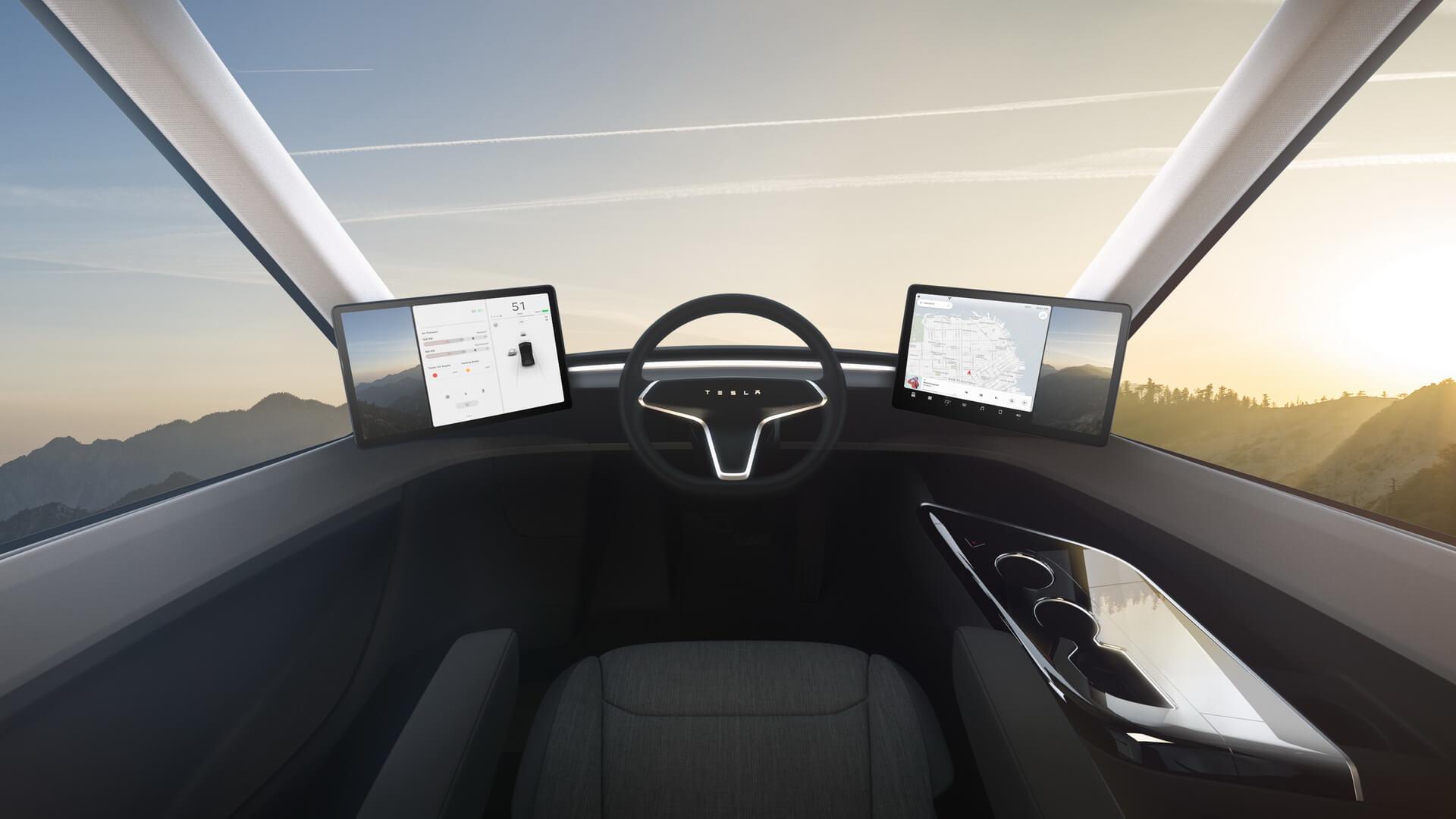 Стекла кабины электрического грузовика Tesla Semi