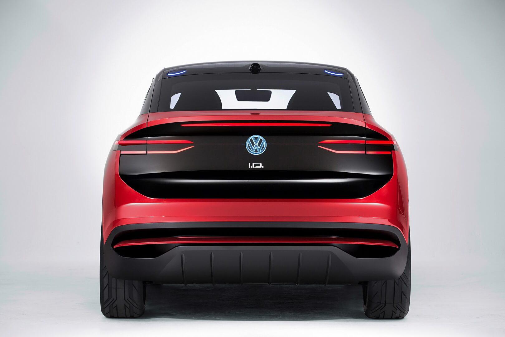 Электрический внедорожник Volkswagen I.D. Crozz— вид сзади