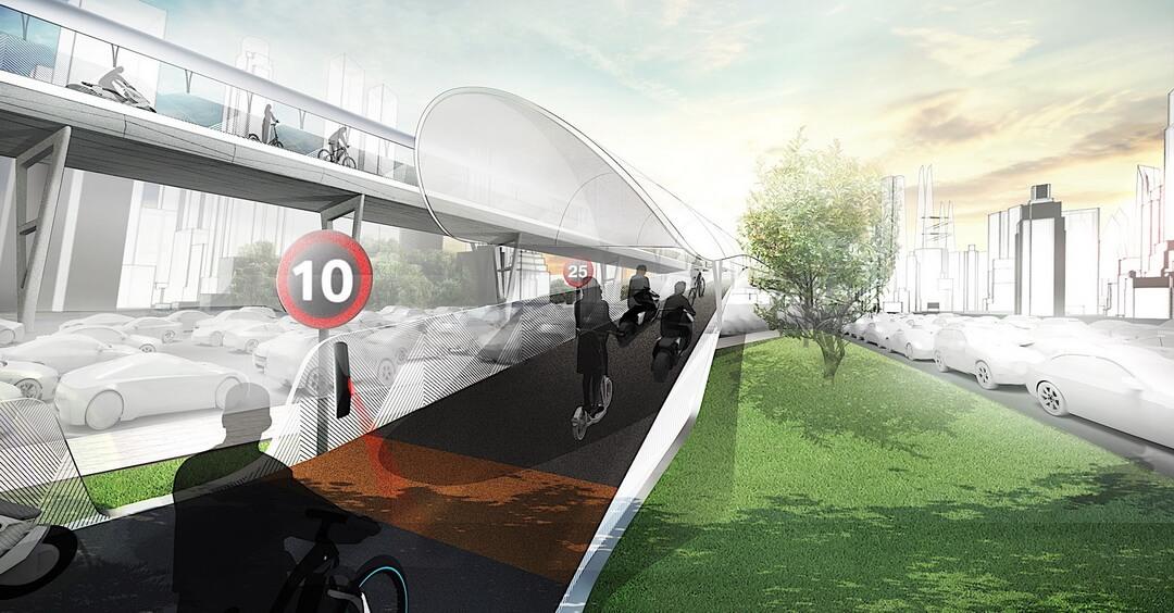 Концепция дороги Vision E³ Way для экологических видов транспорта