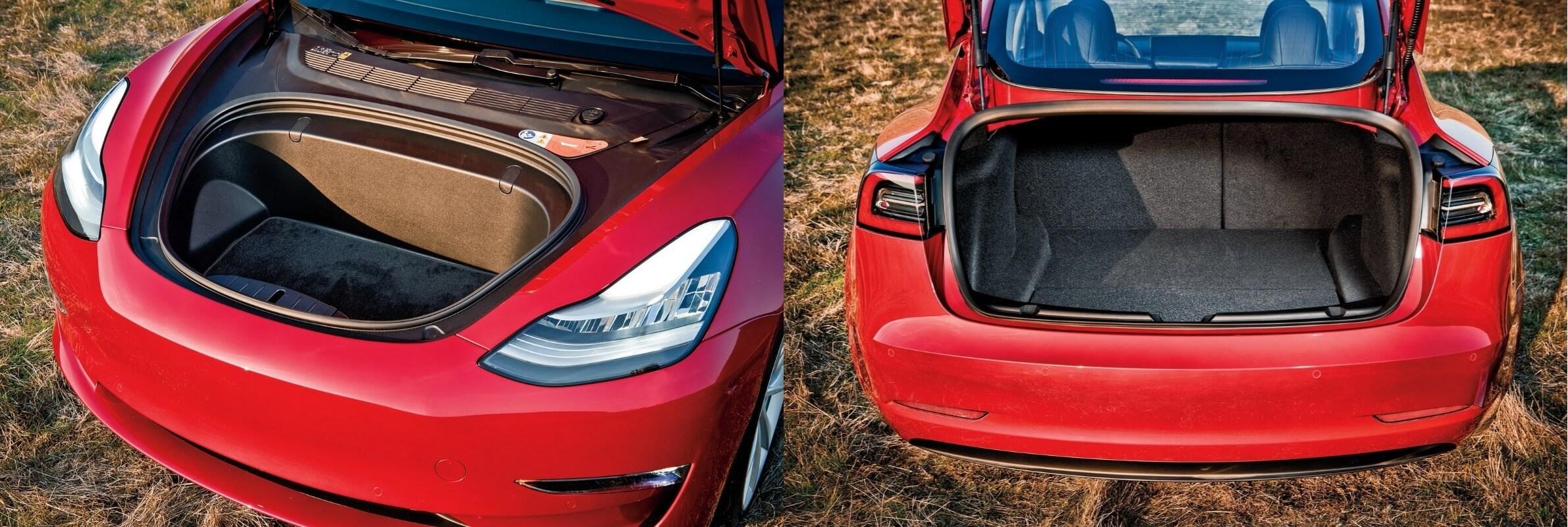Переднее и заднее багажное отделение электромобиля Tesla Model 3