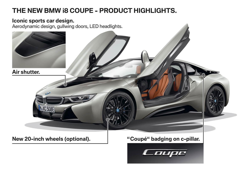 Особенности комплектации плагин-гибрдного купе BMW i8 2018