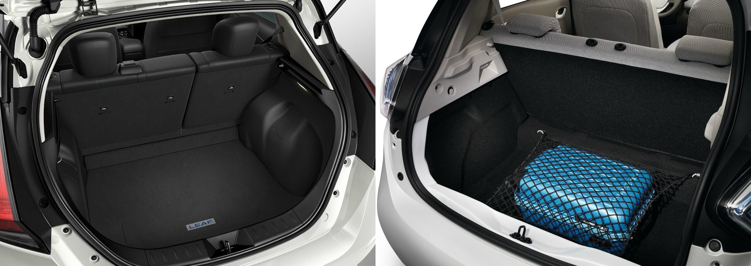 Багажник Nissan Leaf 2018 (слева) и Renault ZOE(справа)