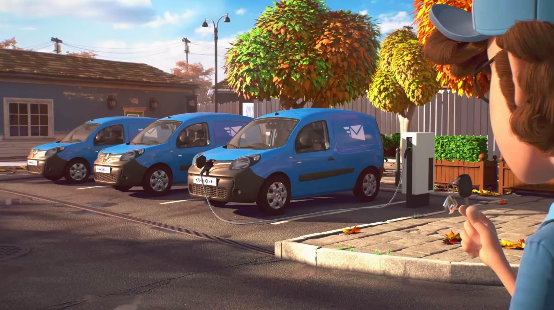 Кадр из мультфильма «Почтальон» с электрическим фургоном Kangoo Z.E.