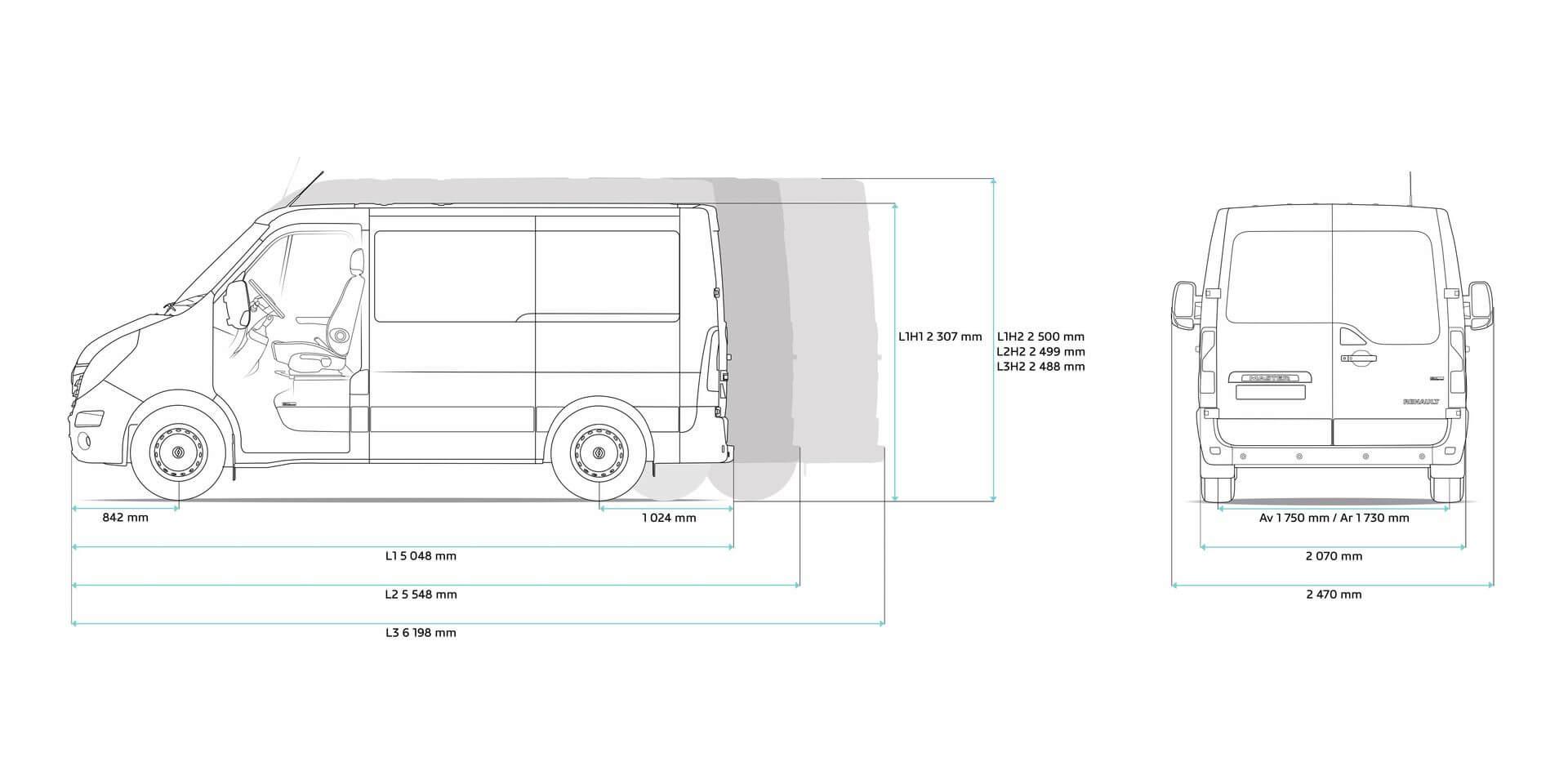 Габаритные размеры электрофургона Renault Master Z.E.