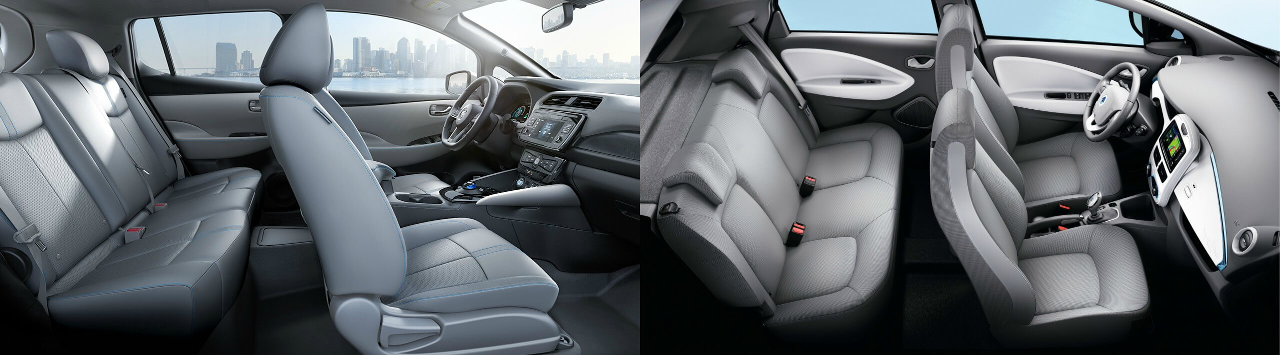 Салон Nissan Leaf (слева) и Renault ZOE (справа)