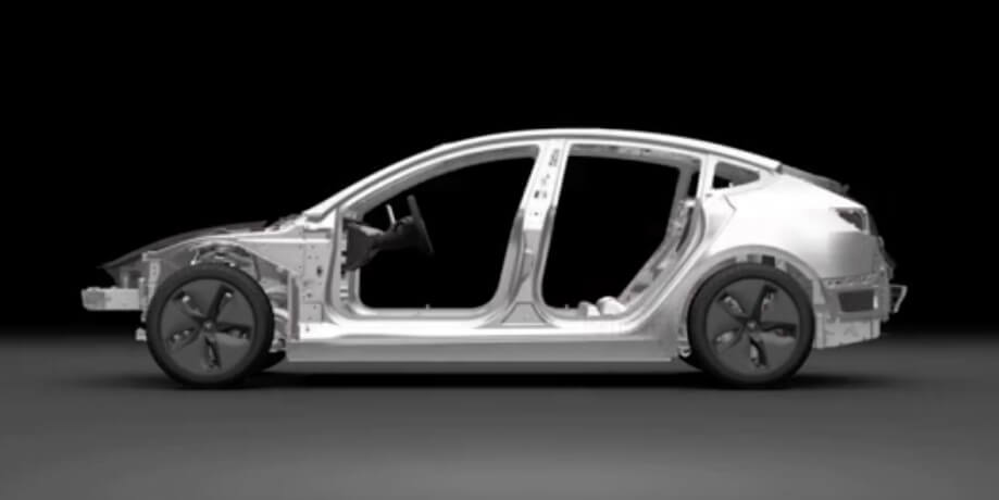 Рама электромобиля Tesla Model 3