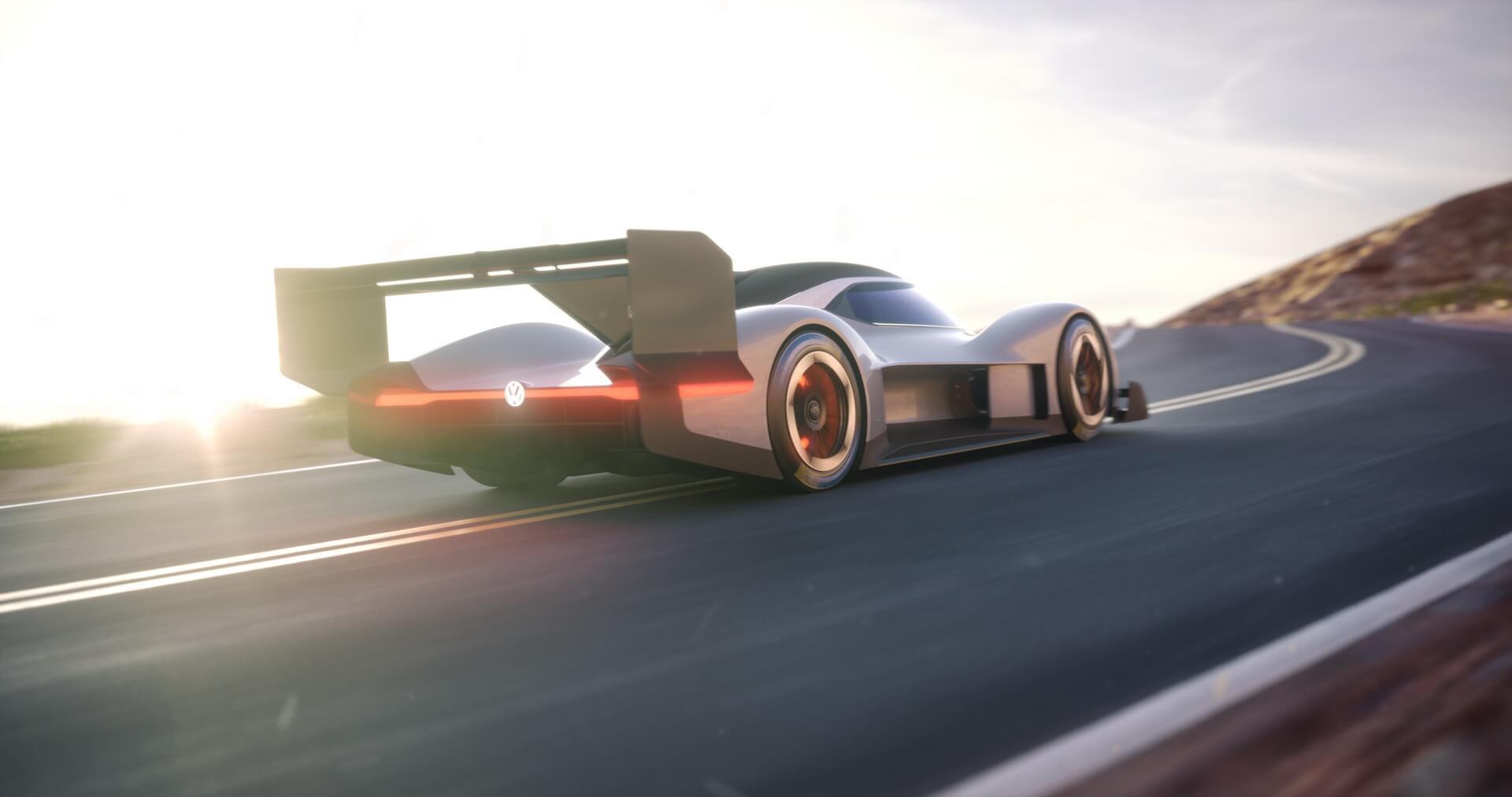 Гоночный электрокар Volkswagen I.D. R для участия в горной гонке Pikes Peak