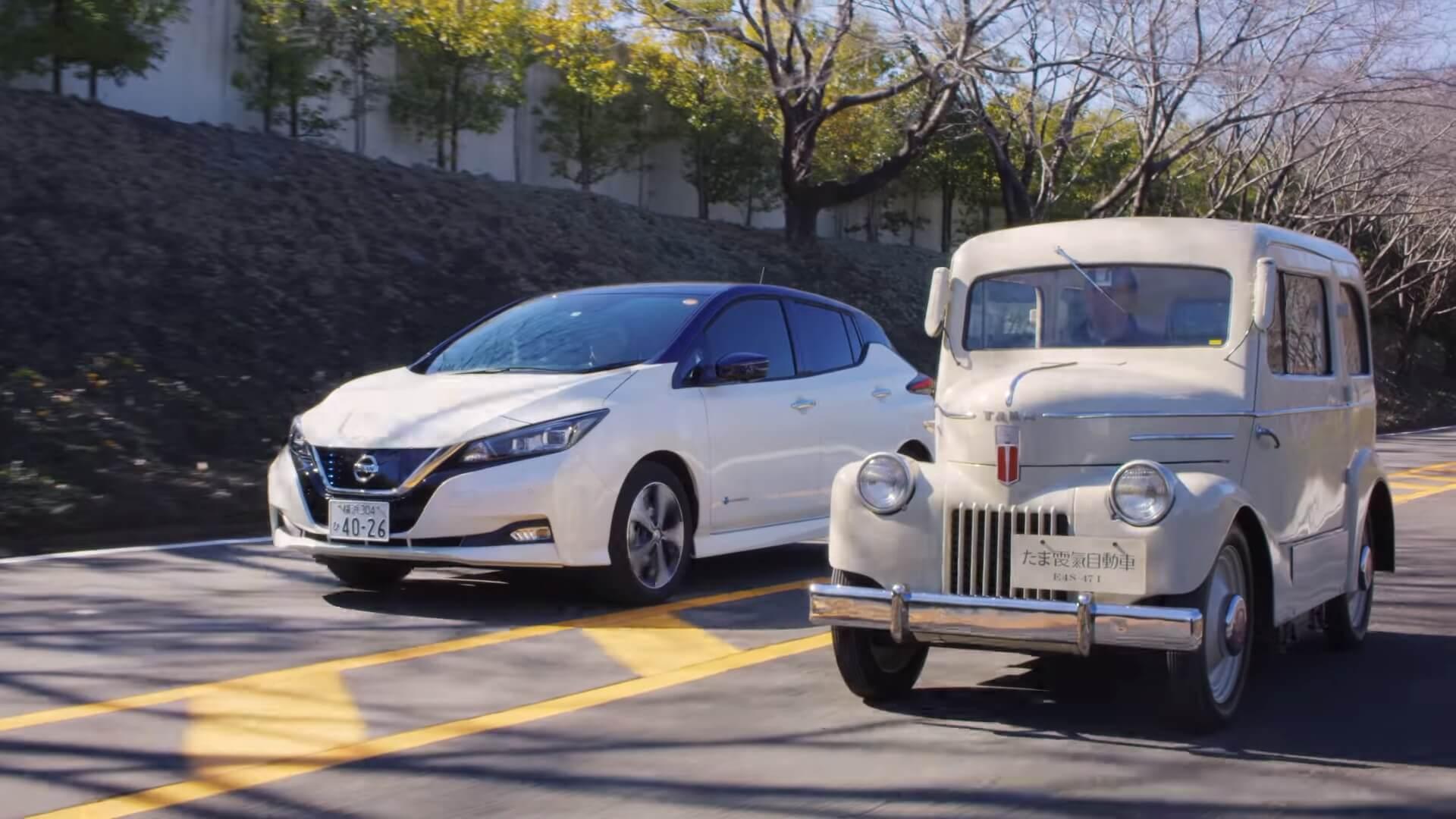 Электромобили Tama 1947 года и Nissan Leaf 2017 года