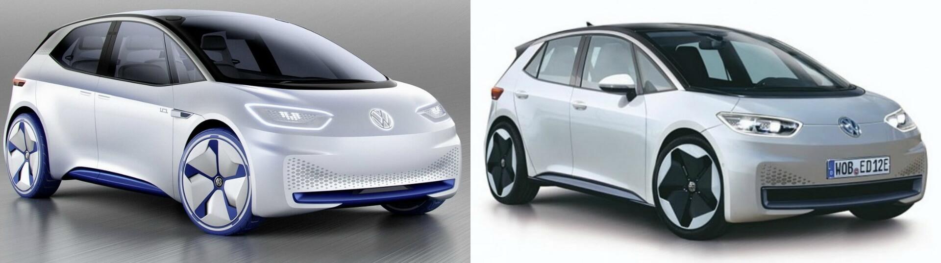 Концептуальная версия Volkswagen I.D. (слева) - производственный прототип Volkswagen NEO (справа)