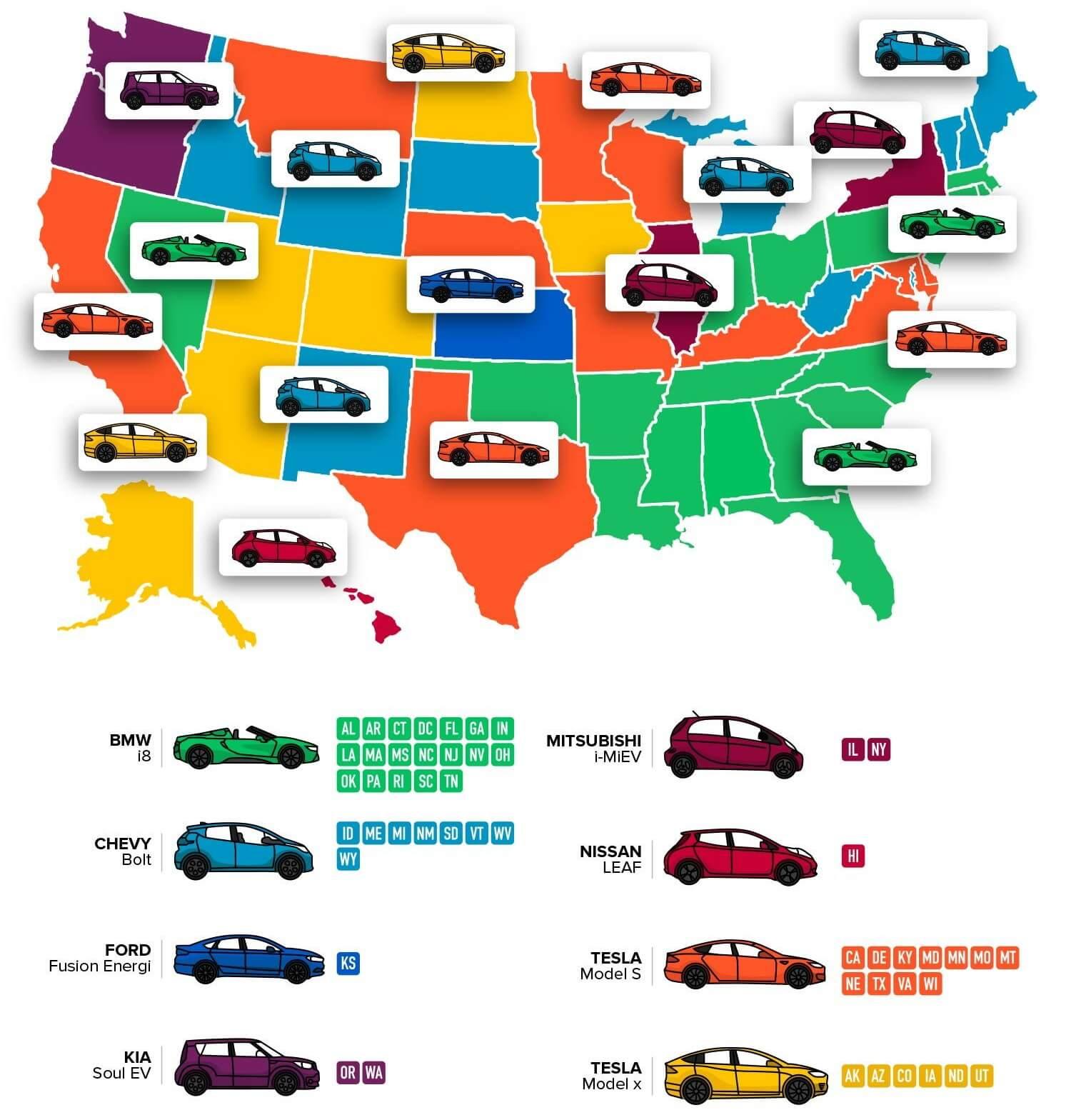 Карта популярности электрокаров в США