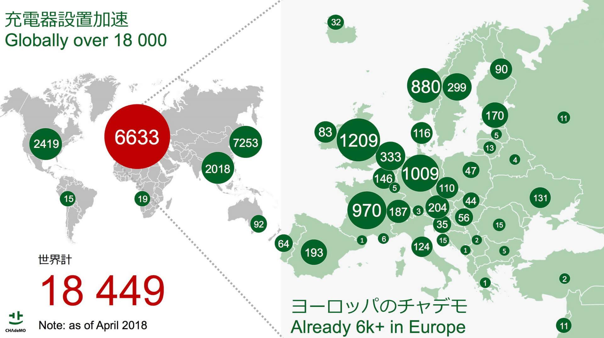 Карта глобального распространения стандарта CHAdeMO