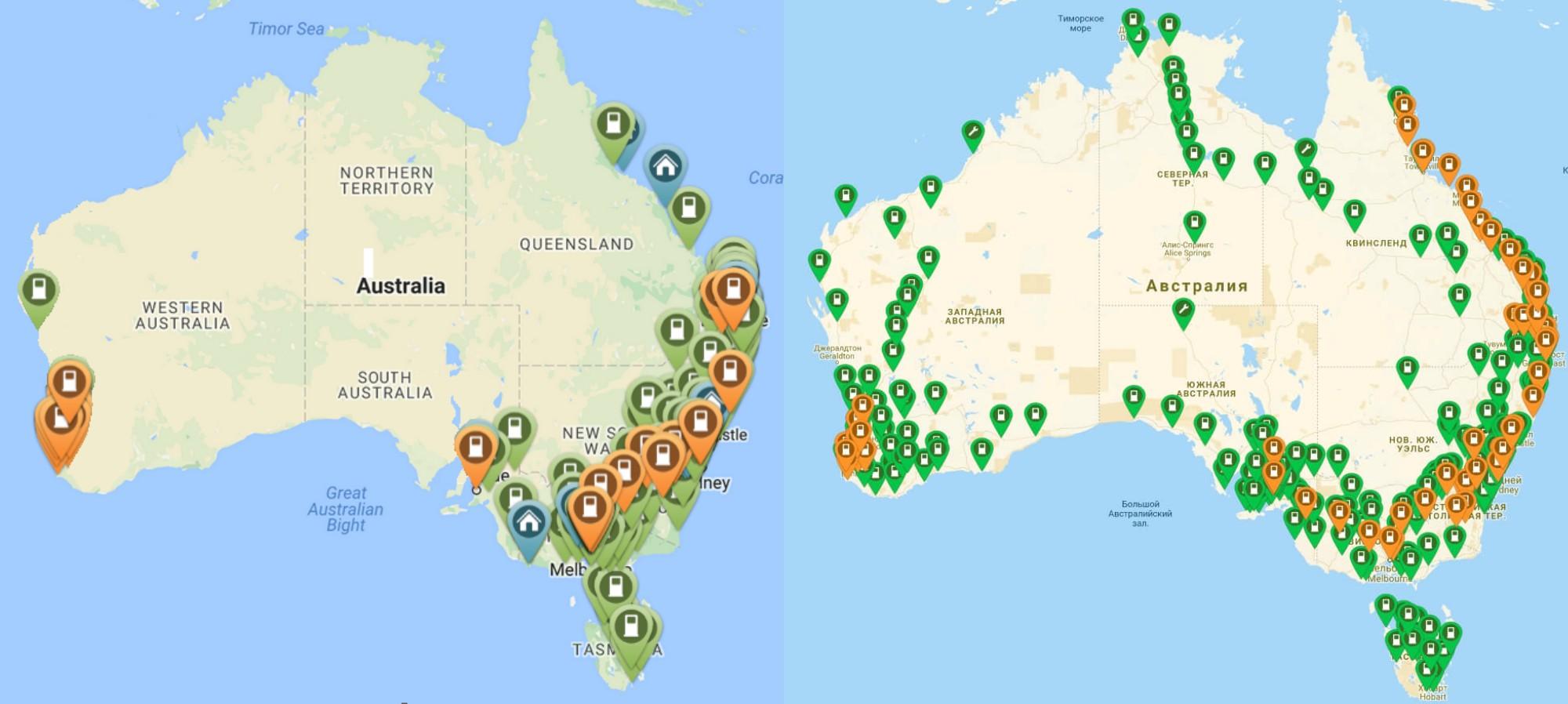 Сеть зарядных станций на 2016 и 2018 года в Австралии