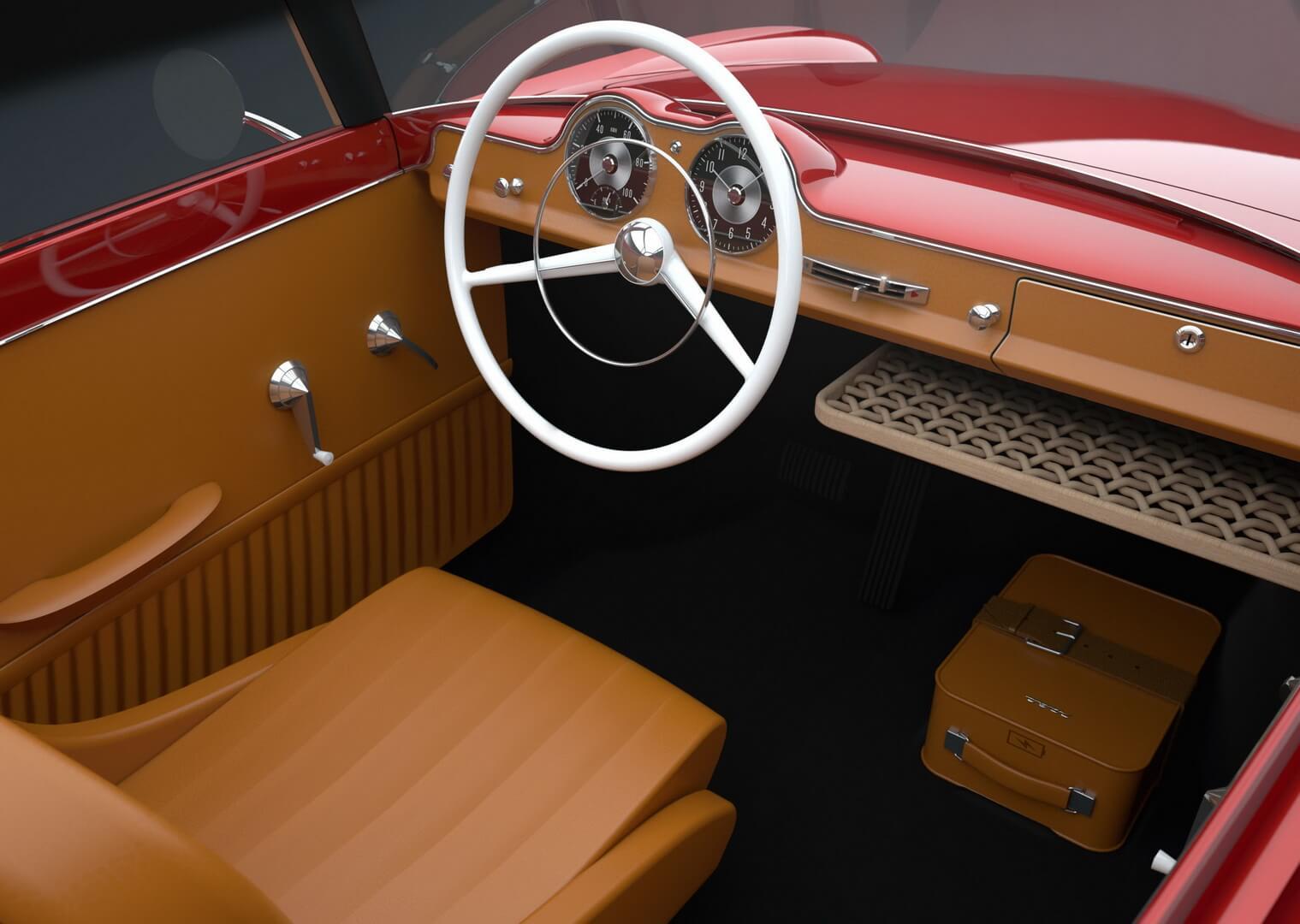 Винтажный салон трехколесного электромобиля Nobe 100