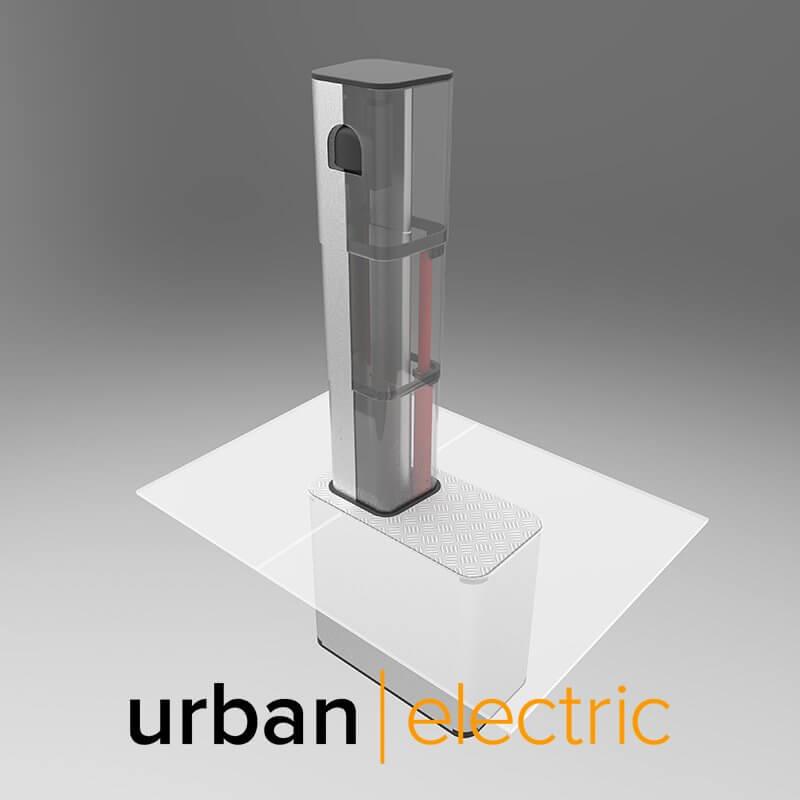 Выезжающая из-под земли зарядная станция UEOne для зарядки электромобилей