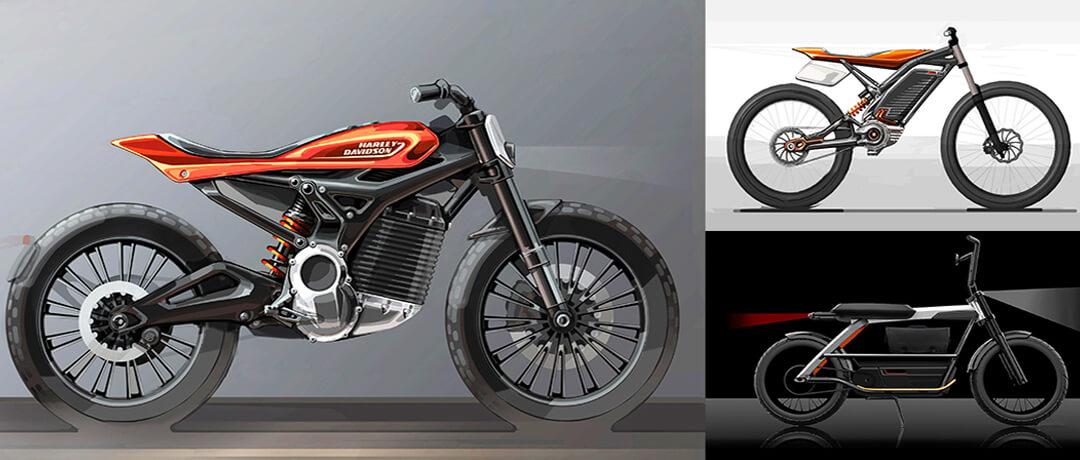 Концепты электрических мотоциклов и велосипеда Harley Davidson
