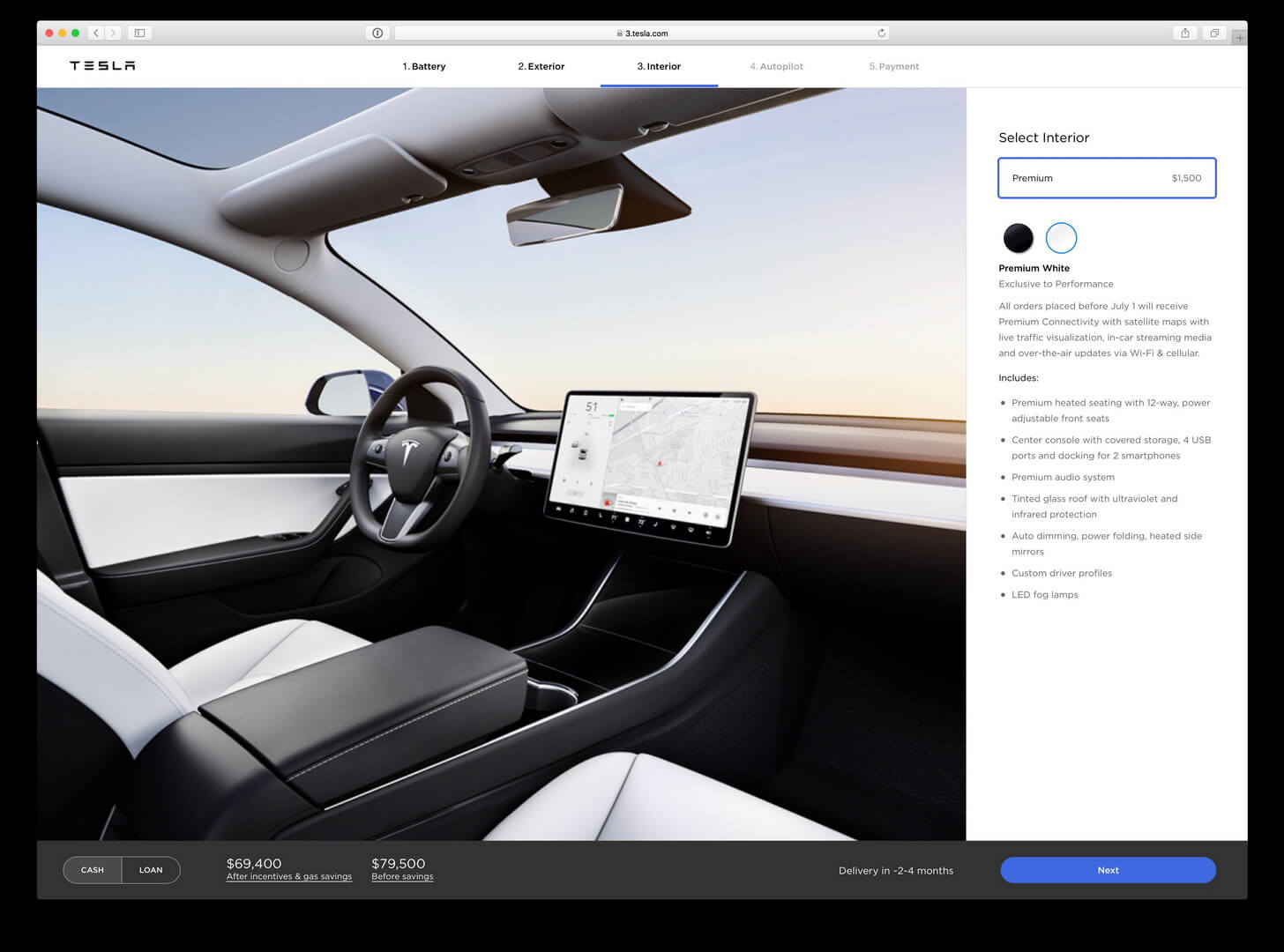 Онлайн-конфигуратор Tesla Model 3 - салон