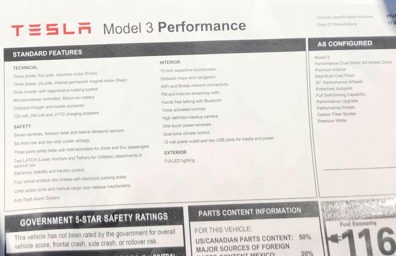 Энергоэффективность Tesla Model 3 Perfomance