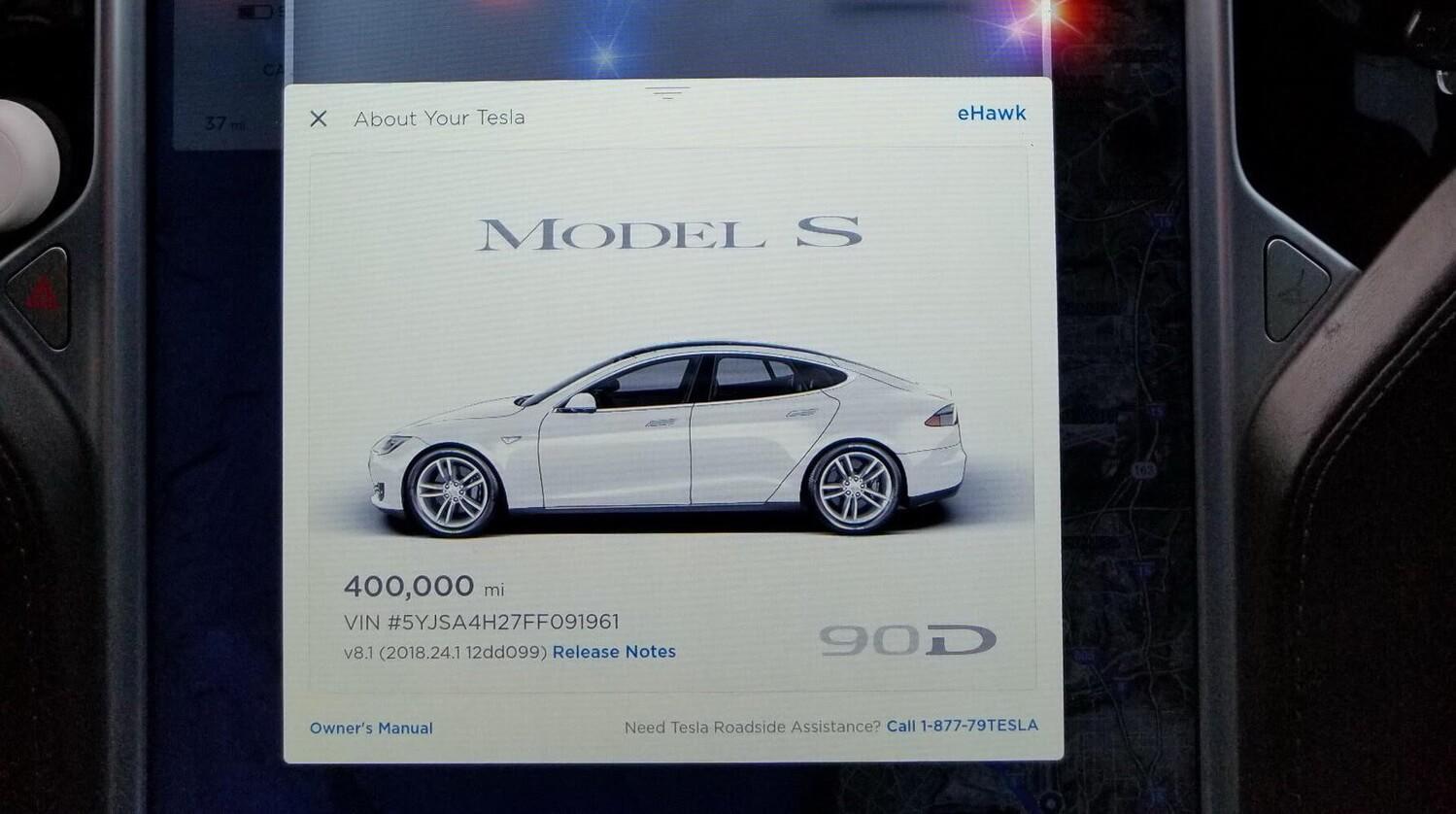 Пробег каршерингового электромобиля Tesla Model S 90D